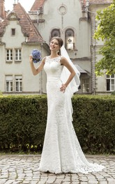 Lace Ruched Waist Sleeveless Jeweled-Neckline Dress