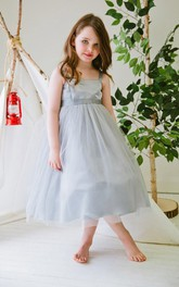 Layered Spaghetti Tea-Length Satin Flower Girl Dress