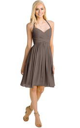 Haltered Chiffon Criss cross Knee-length Bridesmaid Dress With Pleats