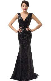 Trumpet Allover Sequined V-Neckline Sleeveless Gown