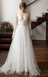 Illusion Scoop-Neck Long Sleeve Lace Tulle Wedding Dress With Pleats