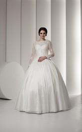 Beaded Lace Long-Sleeve Bateau-Neckline Ball Gown