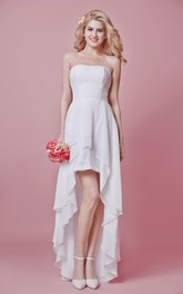 Strapless layered Split Front Dress With Lace And Ruched waist