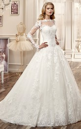 Long-Sleeve A-line Wedding Dress with Brush Train and Appliques
