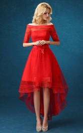 A-line High-low Off-the-shoulder Illusion Half Sleeve Tulle Dress with Appliques