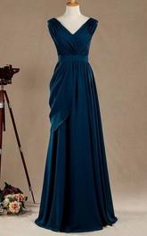 A-Line Ruched Pleats Cap-Sleeved V-Neckline Dress