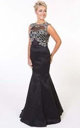 Trumpet Long Sleeveless Scoop Beaded Satin Prom Dress With Keyhole Back
