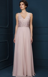 V-neck Sleeveless Chiffon Floor-length Dress With Beading