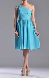 Pleated Single-Shoulder Midi-Length Bridesmaid Dress