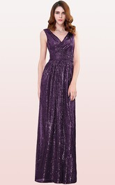 A Line Sequins V-neck Floor-length Bridesmaid Dress With Ruching
