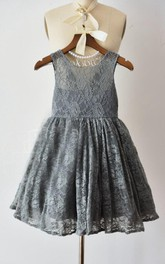 Scoop-neck Sleeveless short A-line Lace Flower Girl Dress