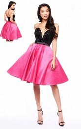 A-Line Short Sweetheart Sleeveless Satin Dress With Beading