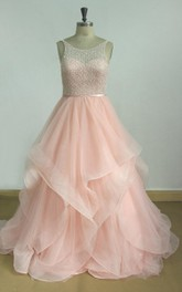blushing Scoop-neck Sleeveless A-line Ruffled Prom Dress With Beaded top