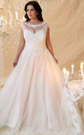 Scoop-neck Cap-sleeve Tulle plus size Ball Gown With Corset Back And Court Train