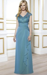 V-Neckline Draping Floor-Length Appliqued Formal Dress