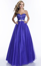 A-Line Beaded Waist Lace-Bodice Tulle Long Formal Dress