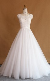Lace Rhinestone Appliqued Illusion Ball-Gown Princess Dress