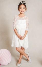 Scoop-Neckline Floor-Length A-Line Flower Girl Dress