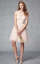 Scoop-neck Cap-sleeve Tulle short A-line Dress With Pleats