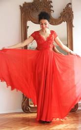 Lace V-neck Short Sleeve Chiffon Floor-length Dress With Pleats