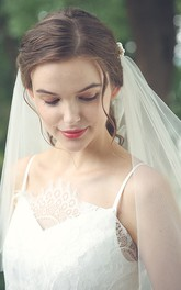 Elegant Tulle Elbow Veil with Beads