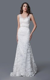 Lace Illusion Back V-Neckline Amazing Fishtail Dress