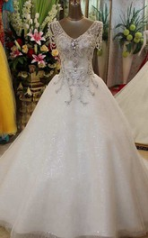 Ball Gown Court Train V-neck Cap Short Sleeve Tulle Dress with Beading