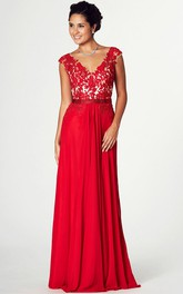 flamboyant Cap-sleeve V-neck Jersey Dress With Appliques