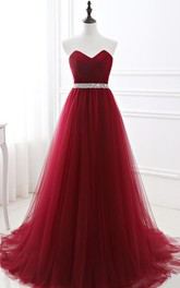 Strapless Tulle Sleeveless Floor-length Brush Train Lace-up Back Formal Dress with Pleats