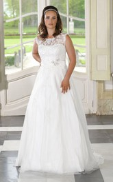Bateau-Neckline Satin Long A-Line Tulle Sleeveless Dress