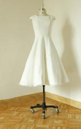 Zipper 3-4-Length Wedding Cap-Sleeve Jewel Satin Back Dress
