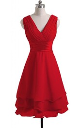 Bridal Satin Belt Layered V-Neck Gown