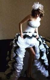 Strapless A-Line Sleeveless Taffeta High-Low Wedding Dress with Corset Back