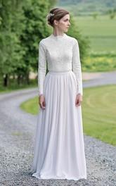 Modest Lace and Chiffon Jewel-Neck Long-Sleeve Wedding Dress
