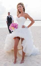 Organza Ruched Ruffle Sweetheart Stunning Dress