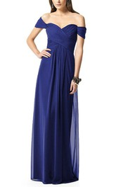 Ruched Sweetheart Off-The-Shoulder Floor-Length Bridesmaid Dress