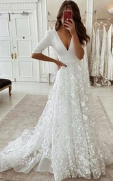 A Line V-neck Satin Organza Floor-length Court Train Half Sleeve Wedding Dress With Appliques