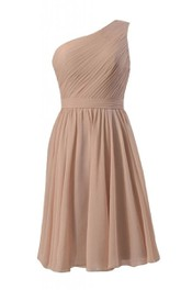 Pleated A-Line Single-Shoulder Simplistic Chiffon Gown