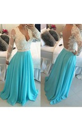 Chiffon Brush-Train Princess A-Line Applique Dress