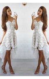 Sleeveless A-line High-low Spaghetti Ruffles Lace Homecoming Dress