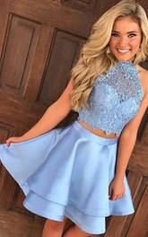 Sleeveless A-line Two Piece Short Mini Halter Lace Ruching Tiers Satin Lace Homecoming Dress
