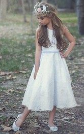 Scoop-neck Sleeveless Tea-length Lace A-line flower girl Dress