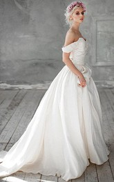 Wedding Ruched Beading A-Line Off-Shoulder Dress