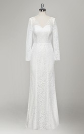 Plunged Long Sleeve Lace Sheath Wedding Dress With Low-V Back