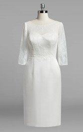 Satin Lace Bodice Long-Sleeve Scoop-Neckline Gown