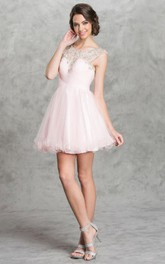 A-Line Keyhole Criss Cross Jeweled Short Mini Cap-Sleeve Scoop-Neck Tulle Dress