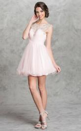 A-Line Keyhole Criss Cross Jeweled Short Mini Cap-Sleeve Scoop-Neck Tulle Dress