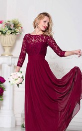 Bateau Lace 3-4-sleeve Chiffon Dress With bow