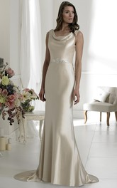 cowl-neck Sleeveless Floor-length Dress With Beading And Low-V Back
