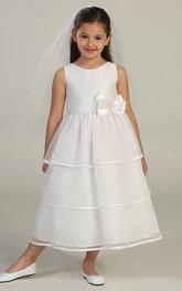 Organza Bowknot Sleeveless Satin Flower Girl Dress